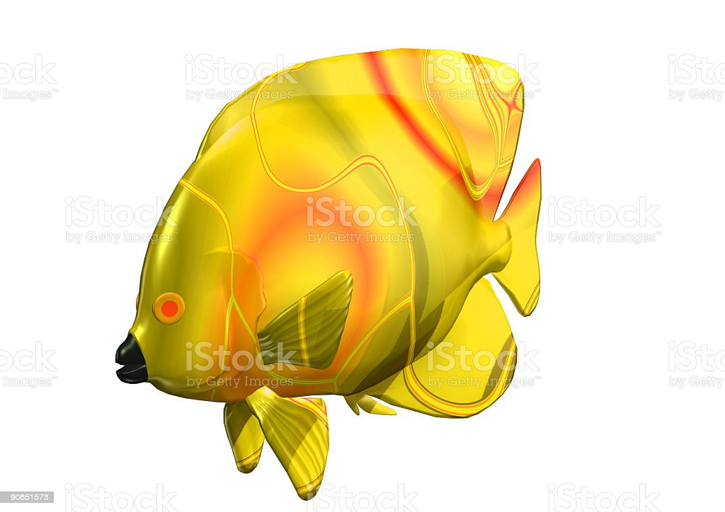 3D big size yellow fish royalty-free stock photo
