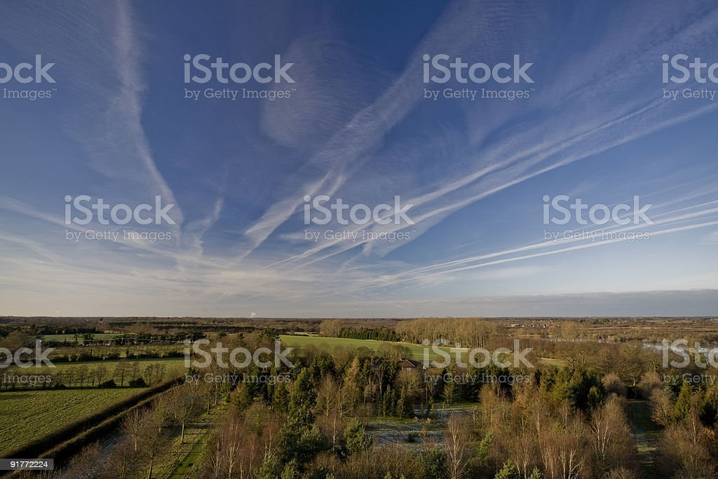 Big skies over flat English landscape, Norfolk UK stock photo