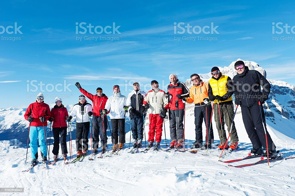 Big skiing group royalty-free stock photo
