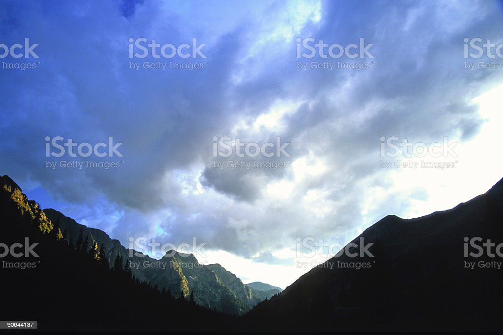 big sky and montain sunset royalty-free stock photo