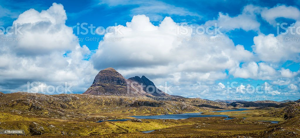 Big sky cloudscape over mountain wilderness panorama Suilven Highlands Scotland stock photo