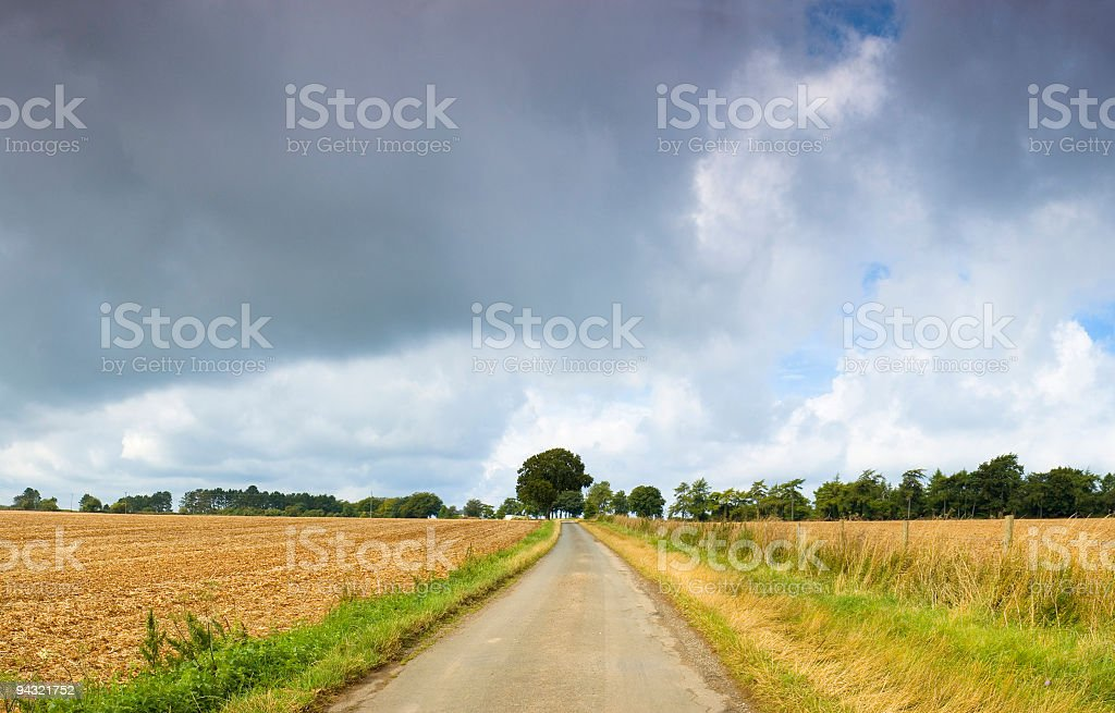 Big sky over rural road royalty-free stock photo