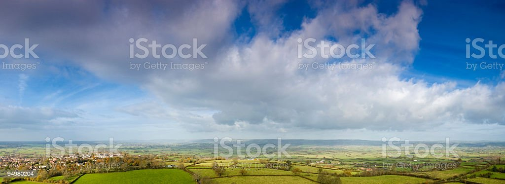 Big sky over town and country stock photo