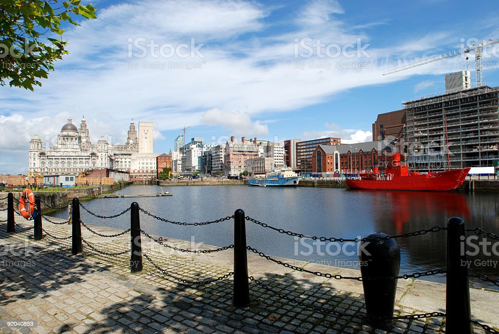 Big sky over wide angle Liver Building in Liverpool 2 stock photo