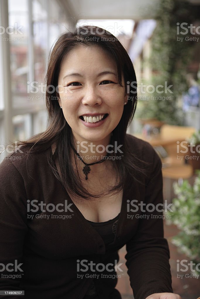 Big Smile at a Cafe royalty-free stock photo