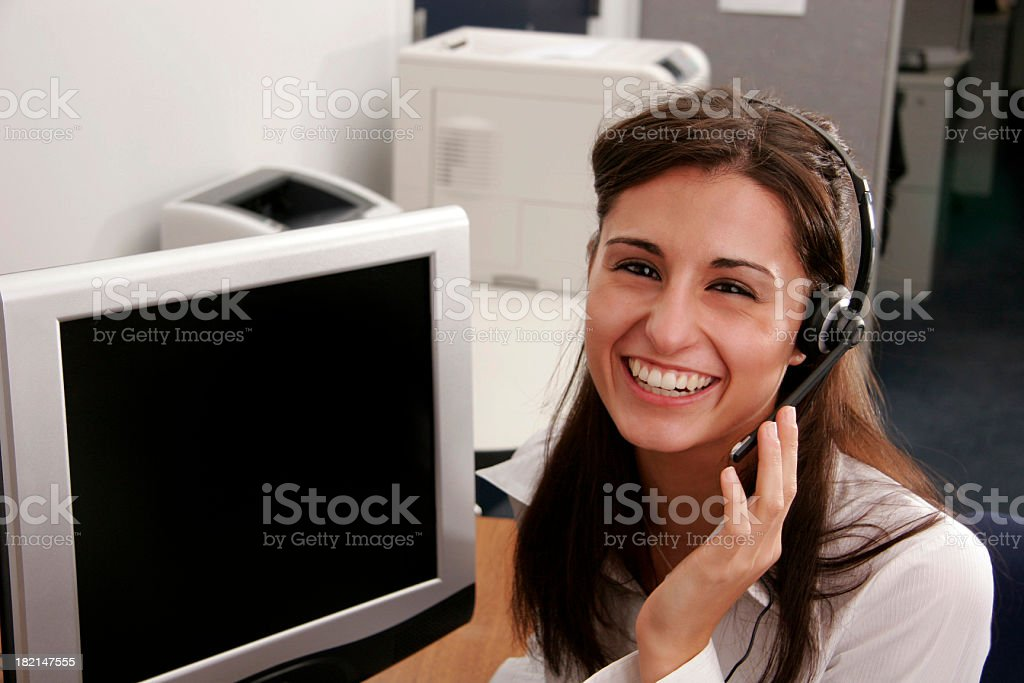 Big Smile Operator with Full Screen royalty-free stock photo