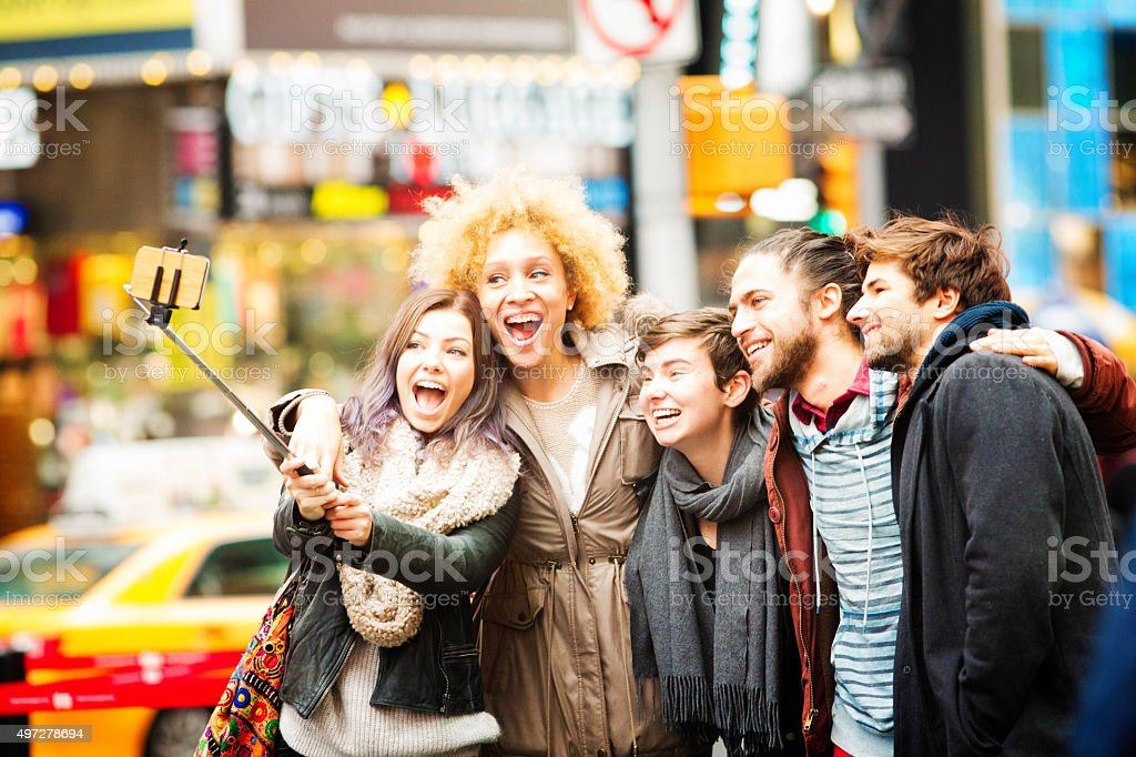 Big smiles for that New York selfie stock photo
