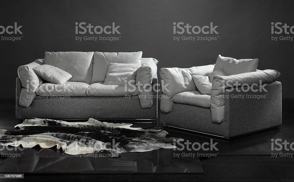 big sofa and armchair stock photo