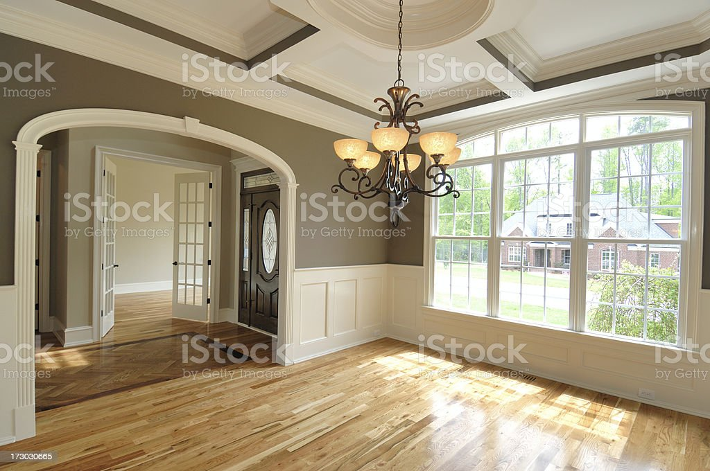 Big, spacious and bright living room with big windows stock photo