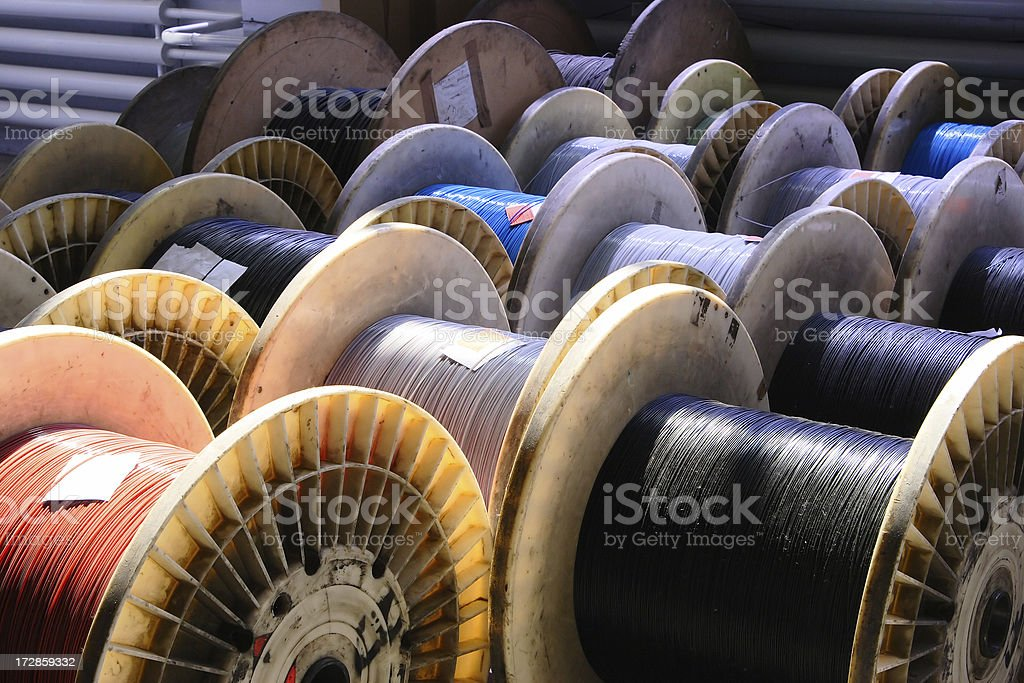 big spool of optic wire stock photo