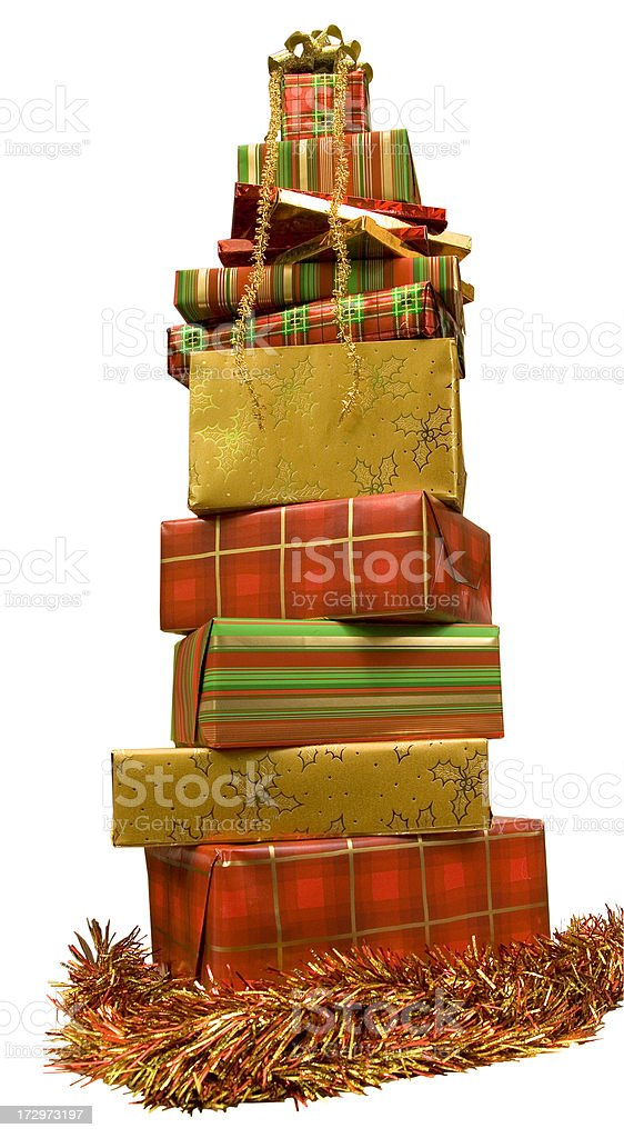 Big stack of Christmas presents royalty-free stock photo