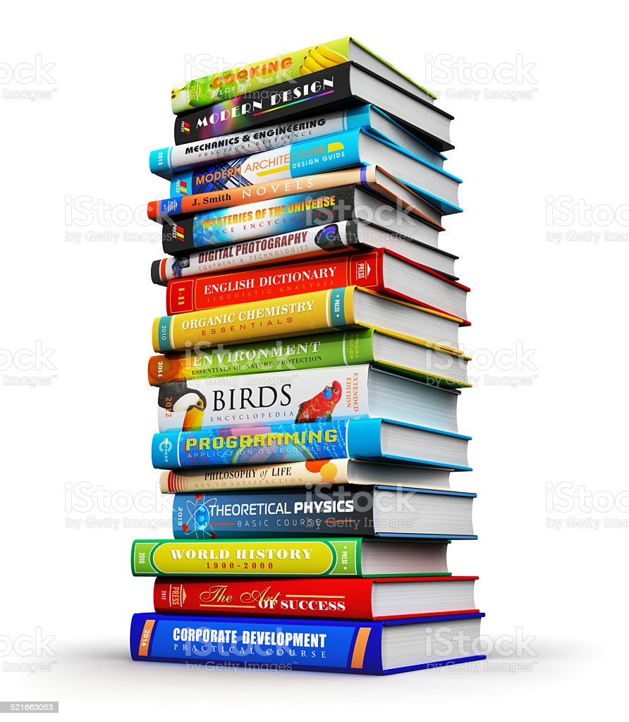 Big stack of color hardcover books stock photo
