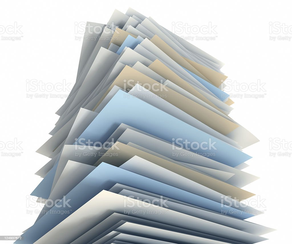Big stack of papers on white background stock photo