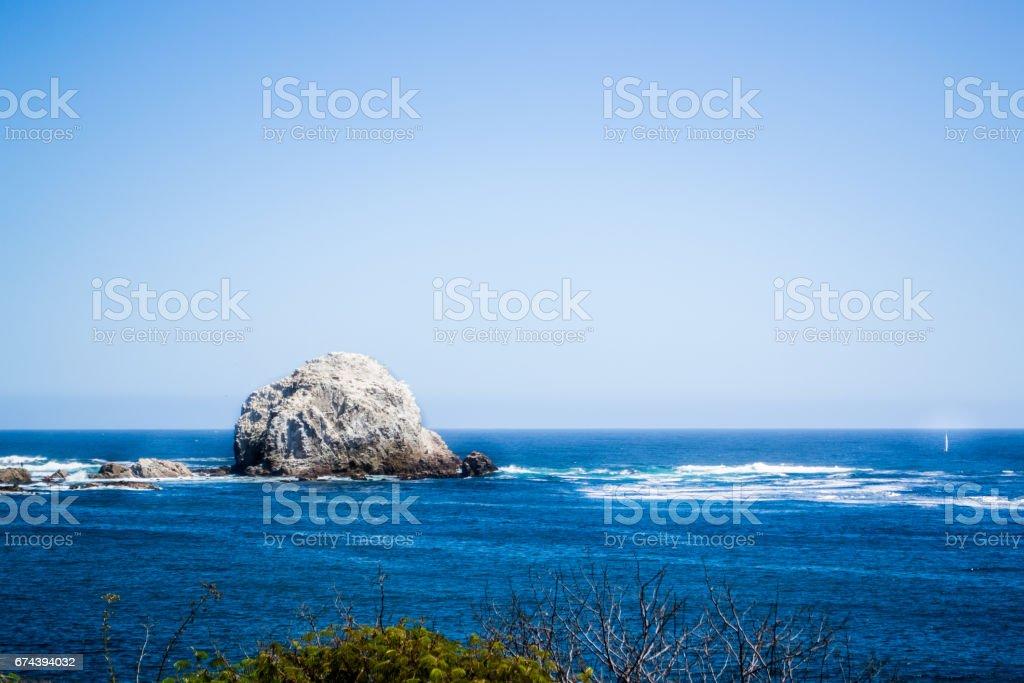 Big stone at the beach, Algarrobo Chile stock photo