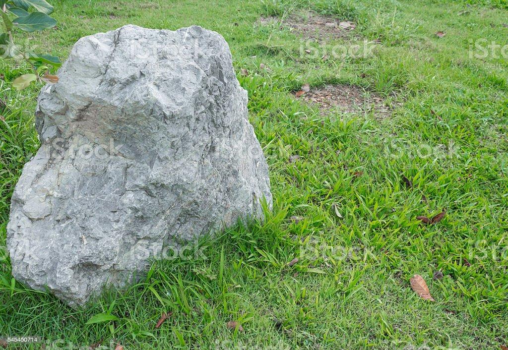 Big stone in the grass stock photo