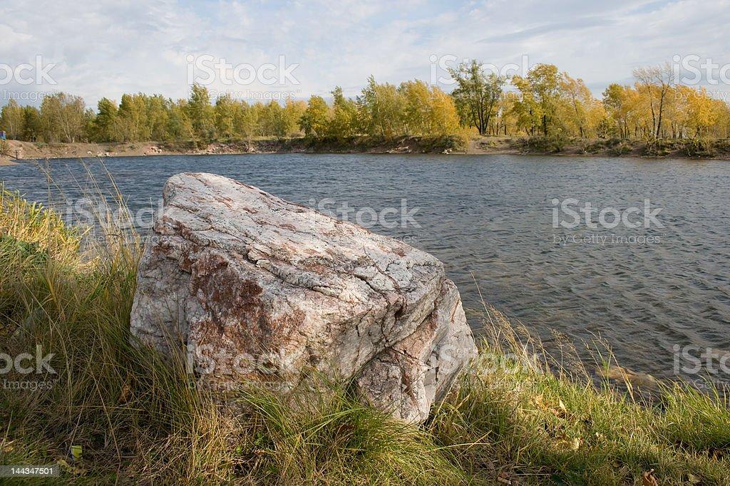 Big stone on the shore royalty-free stock photo