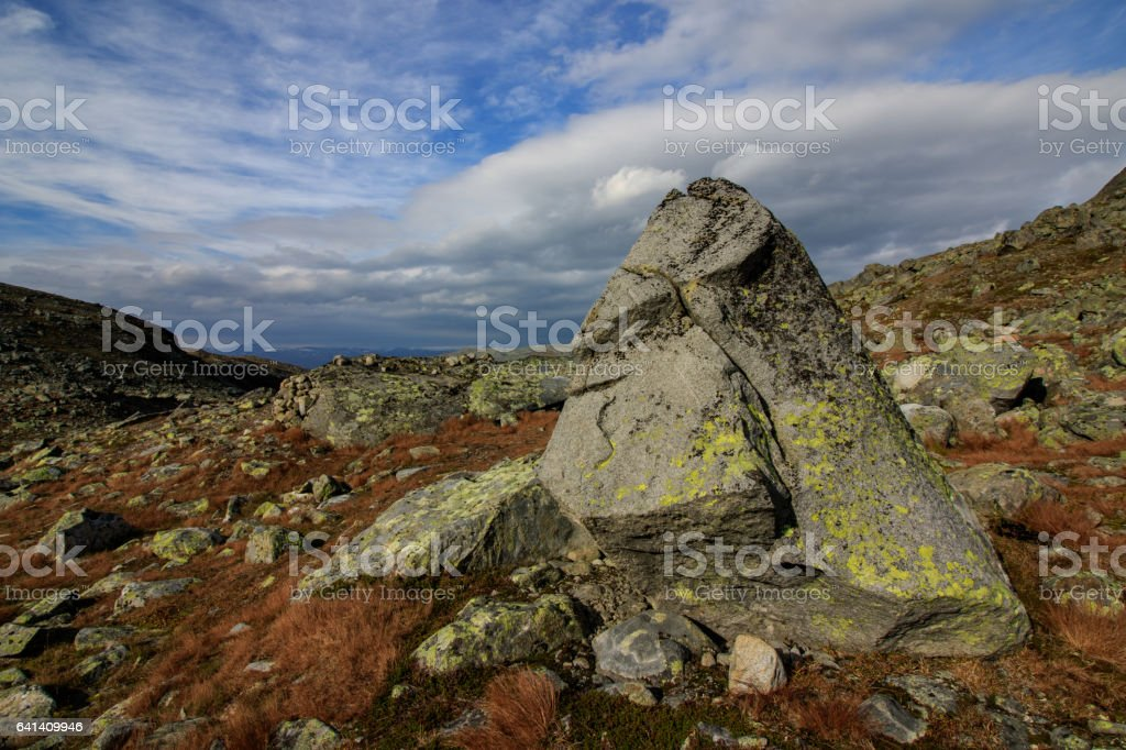 Big stone with a face in Jotunheimen National Park Norway stock photo