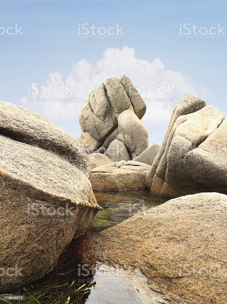 Big stones in water stock photo