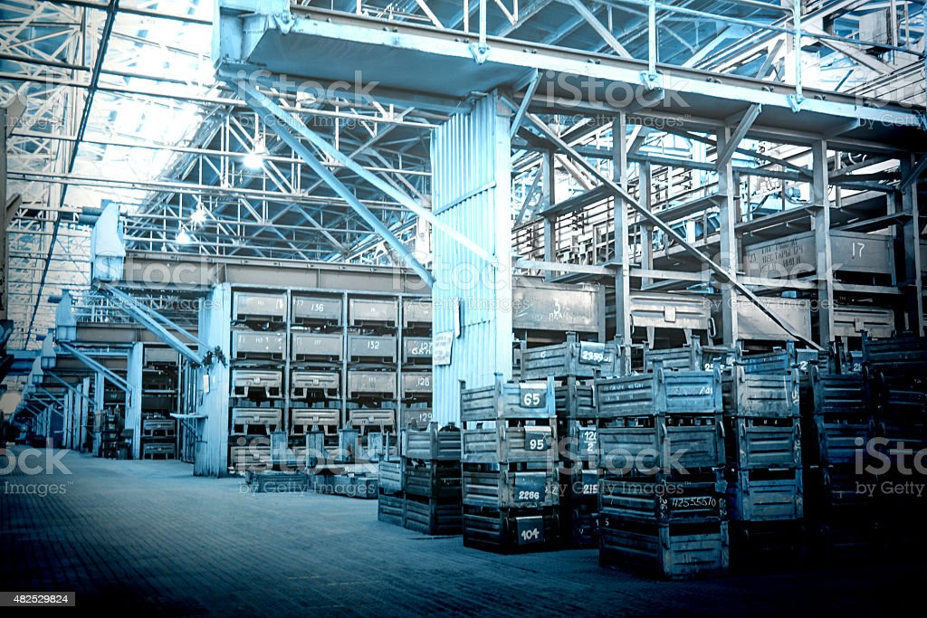 Big storage room with metal boxes stock photo