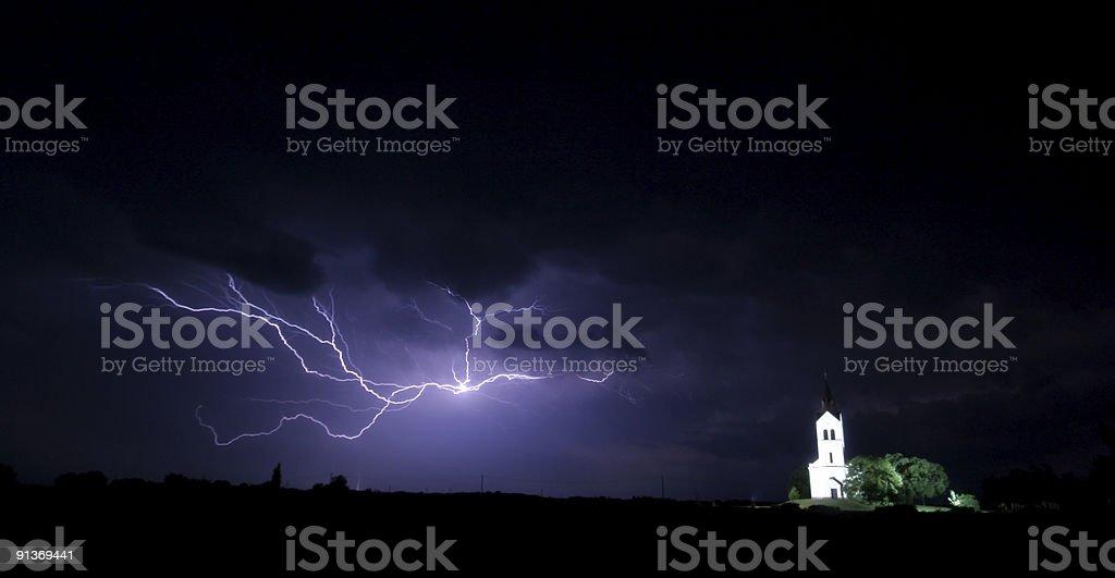 Big storm wiht church royalty-free stock photo