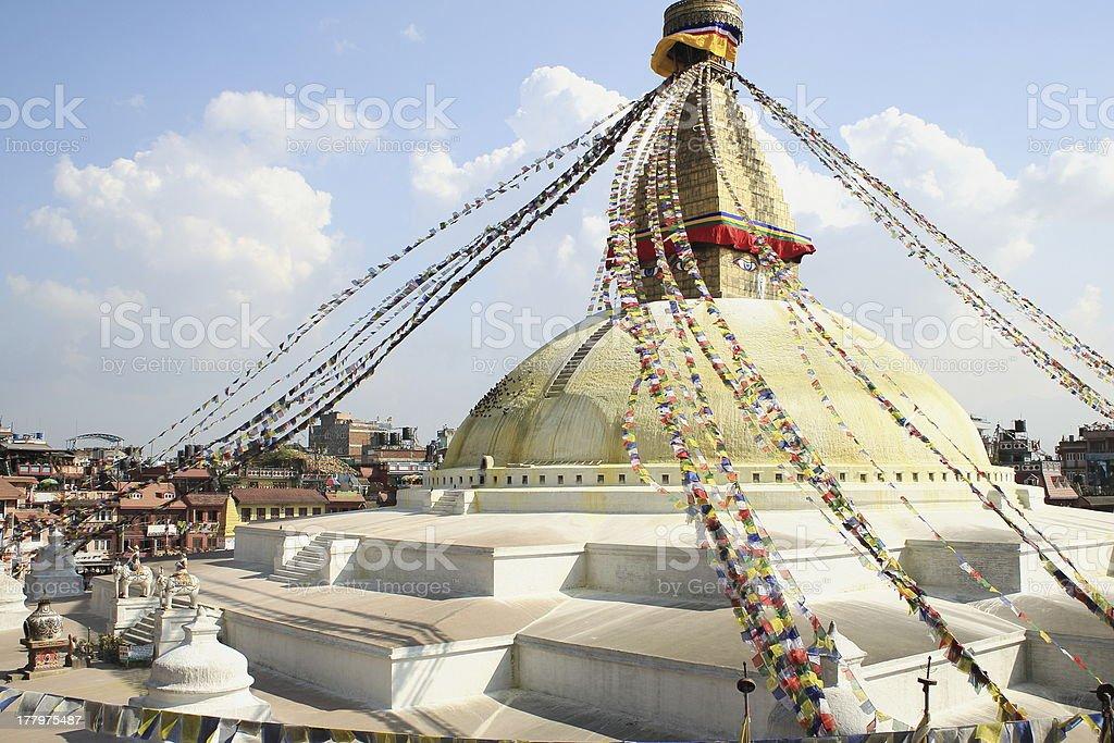 Big stupa of Boudhanath-Bodhnath with buddhist prayer flags. Kathmandu-Nepal. 0312 stock photo