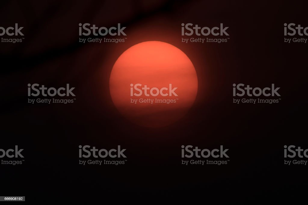 Big Sun and the cloud on the evening. stock photo