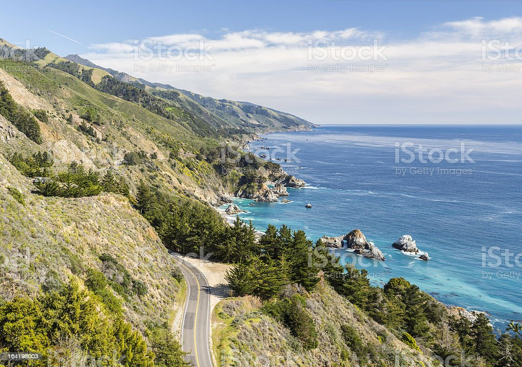 Big Sur, California, coastline from above stock photo