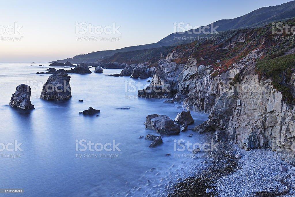 Big Sur Coastline at dusk stock photo