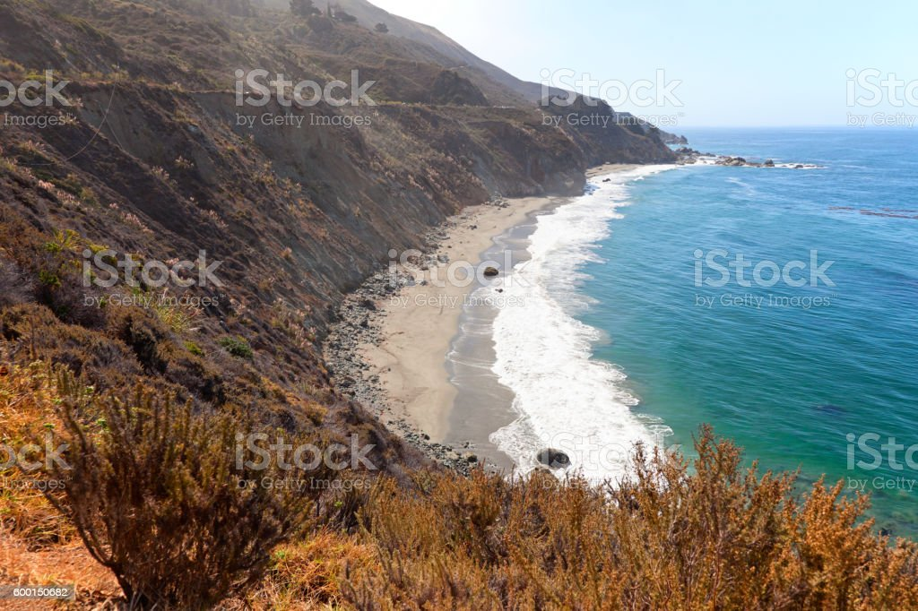Big Sur coastline of California USA near Bixby Creek Bridge stock photo