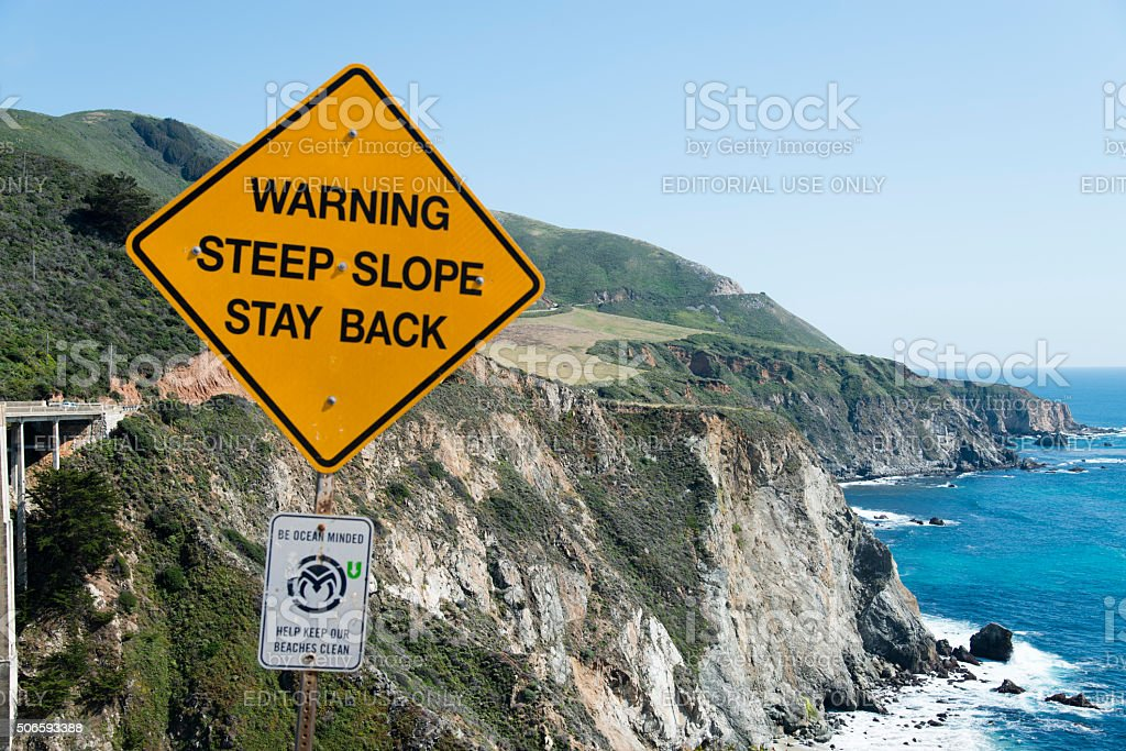 Big Sur Coastline warning sign stock photo