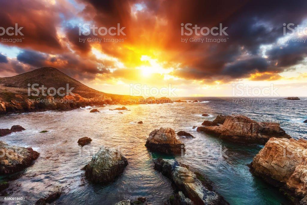 Big Sur rocks stock photo