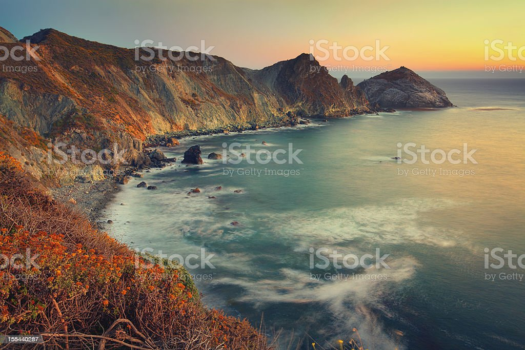 Big Sur sunset stock photo