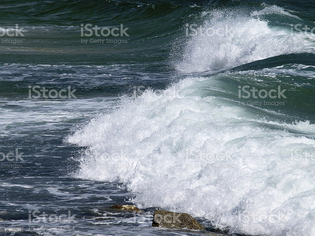 big surf wave on the sea beach stock photo