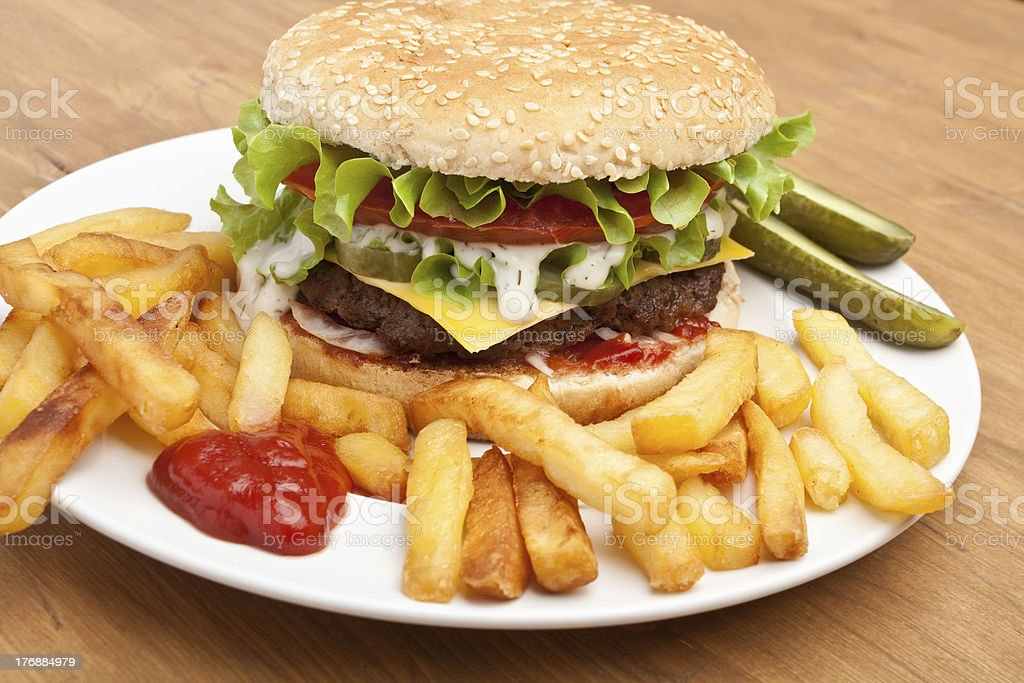 big tasty cheeseburger royalty-free stock photo