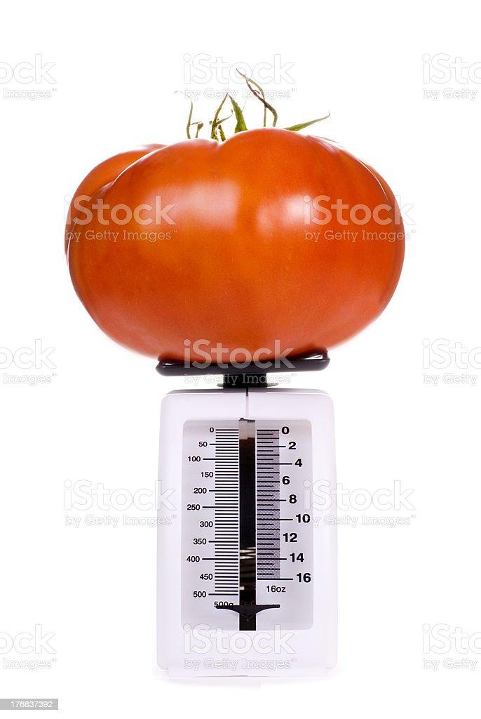 Big Tomato on Kitchen Scale royalty-free stock photo