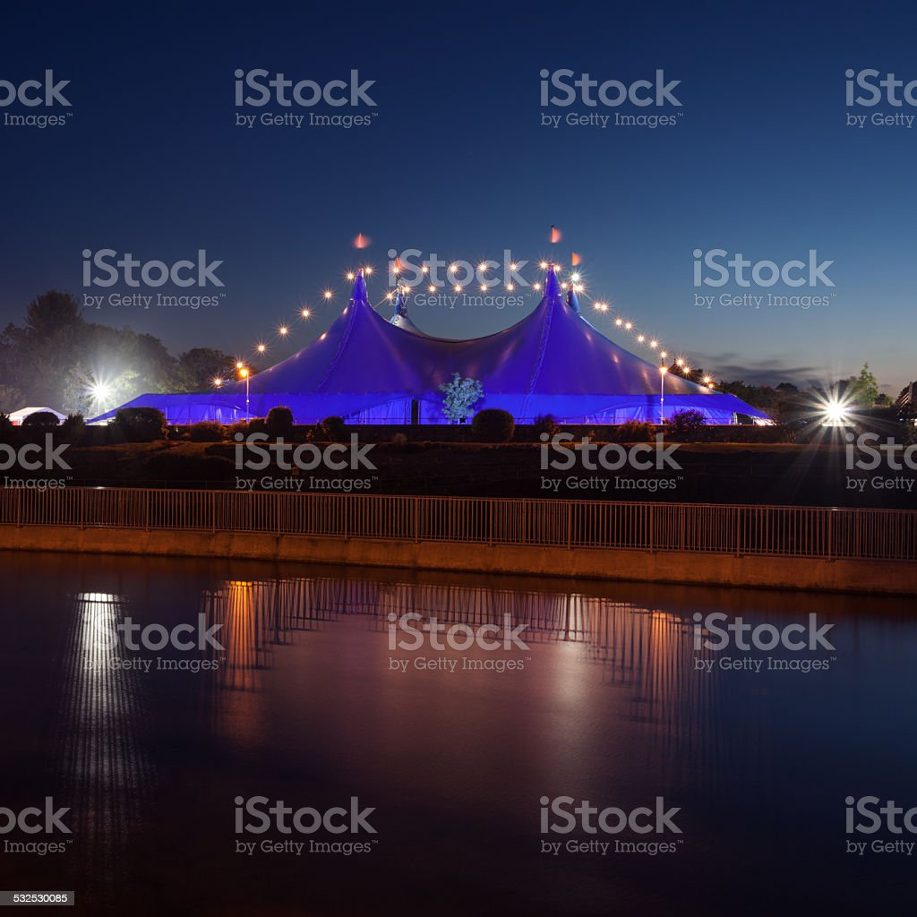 'Big Top' and Galway Cathedral during Art Festival. stock photo