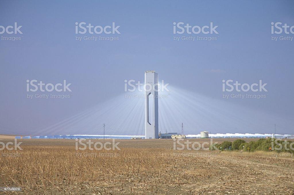 big tower of solar power station Sanlucar La Mayor royalty-free stock photo