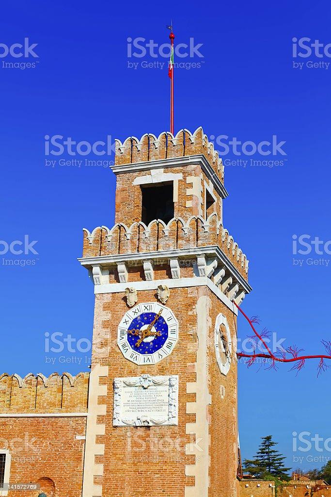 Big tower of Venetian Arsenal, Italy royalty-free stock photo