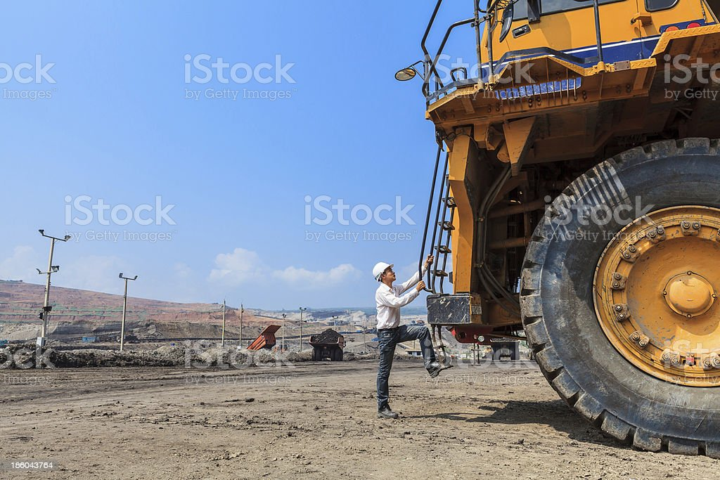 Big Truck and Worker stock photo