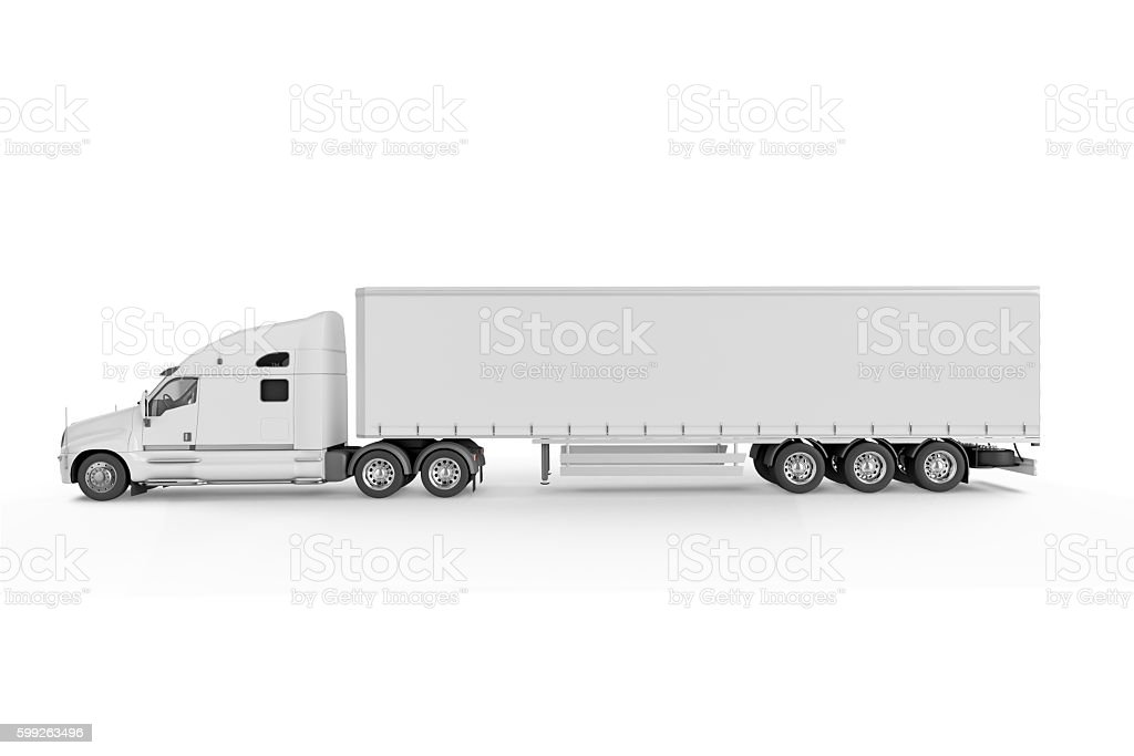 Big Truck Trailer - on white background stock photo