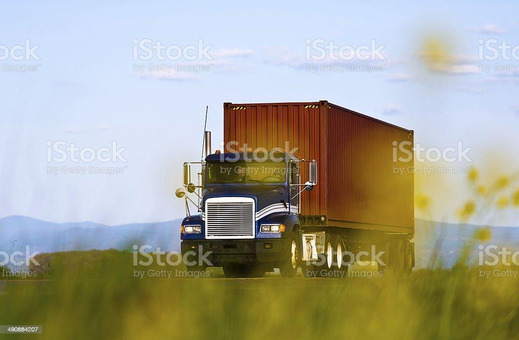Grande camion con container vista attraverso fiori gialli foto stock royalty-free