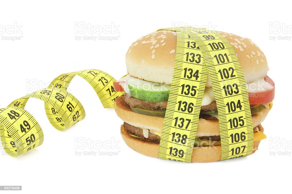 Big \tsandwich with tape measure royalty-free stock photo