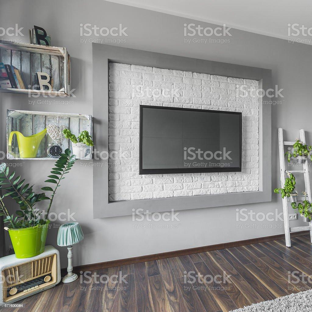 Big tv and creative decorations stock photo