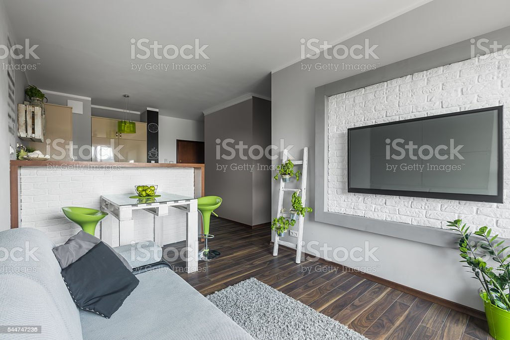 Big tv in small living room stock photo