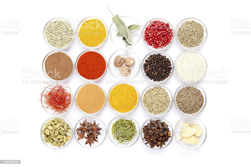 Big variety of spices royalty-free stock photo