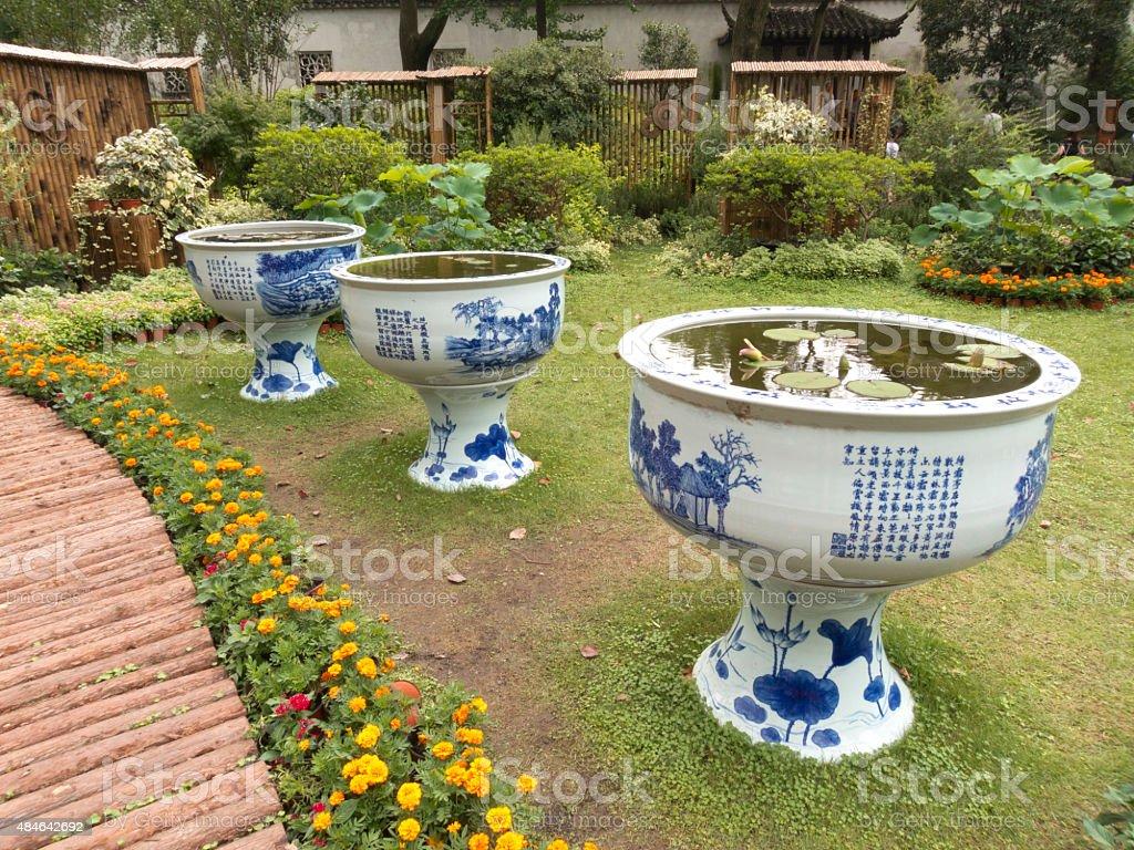 Big vases in Humble Administrator Garden of Suzhou stock photo