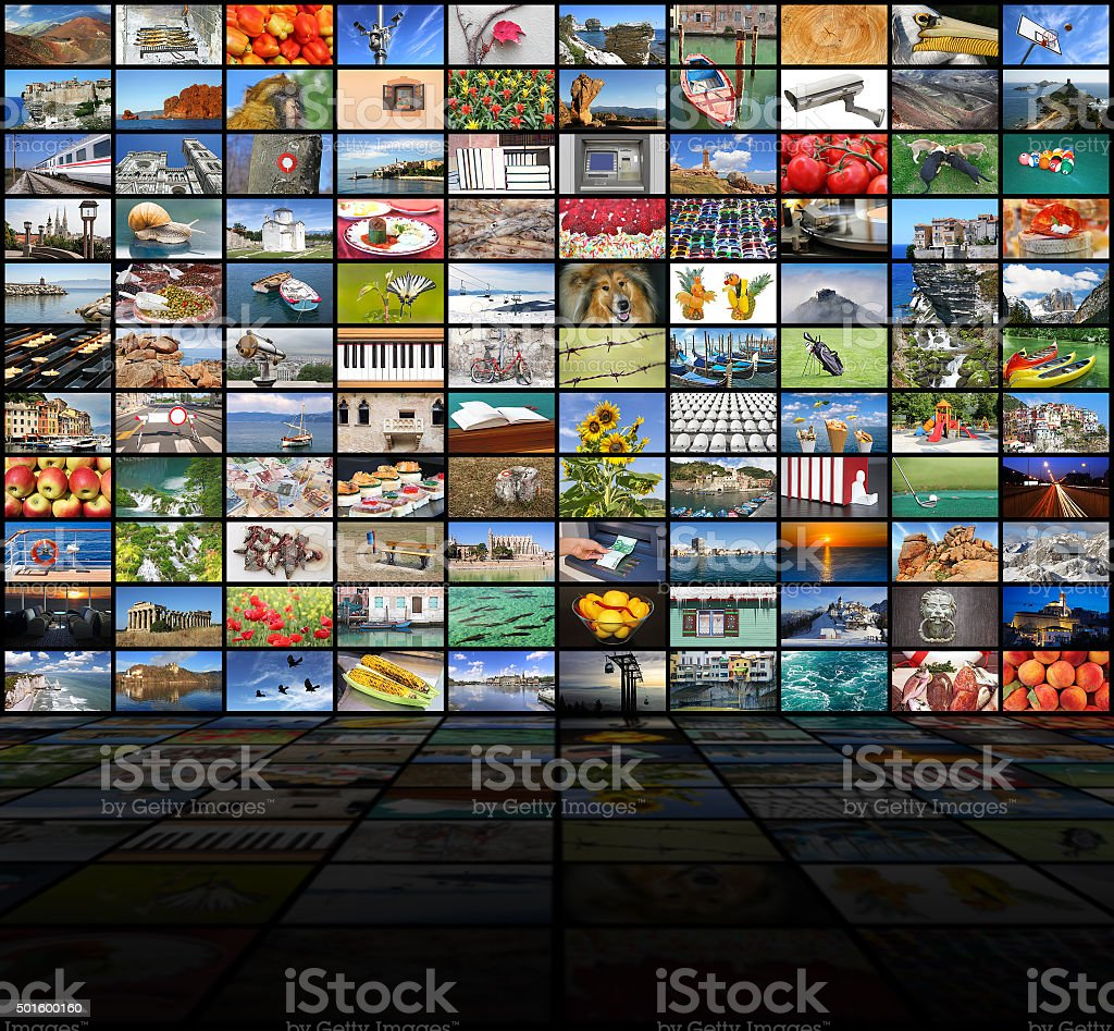 Big video wall of the TV screen stock photo