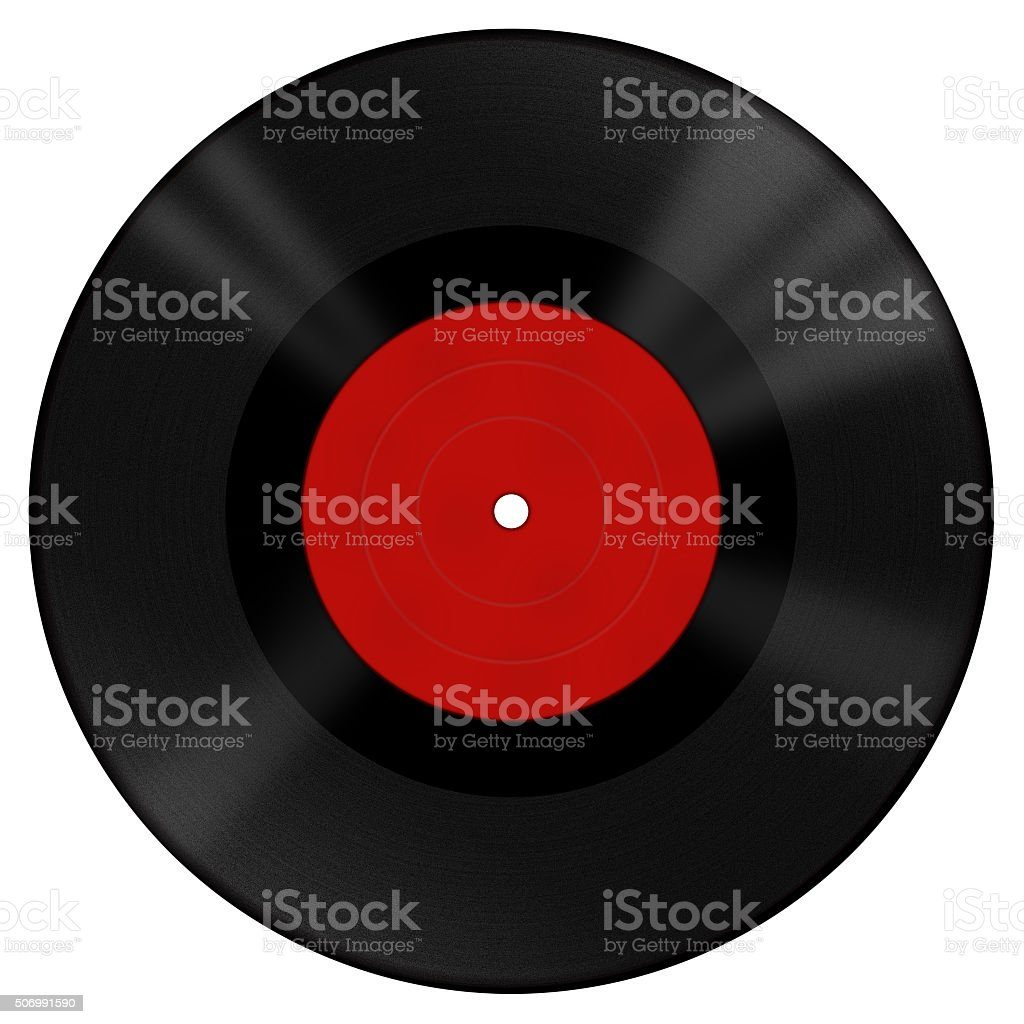 Big vinyl disk with red label stock photo