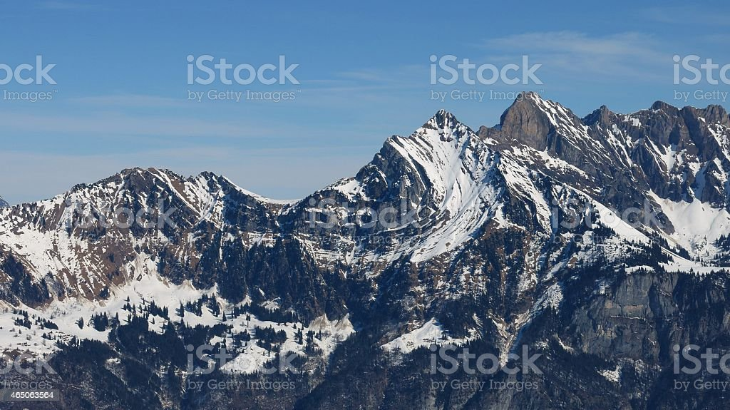 Big visible alpine fold in a mountain of the Churfirsten stock photo