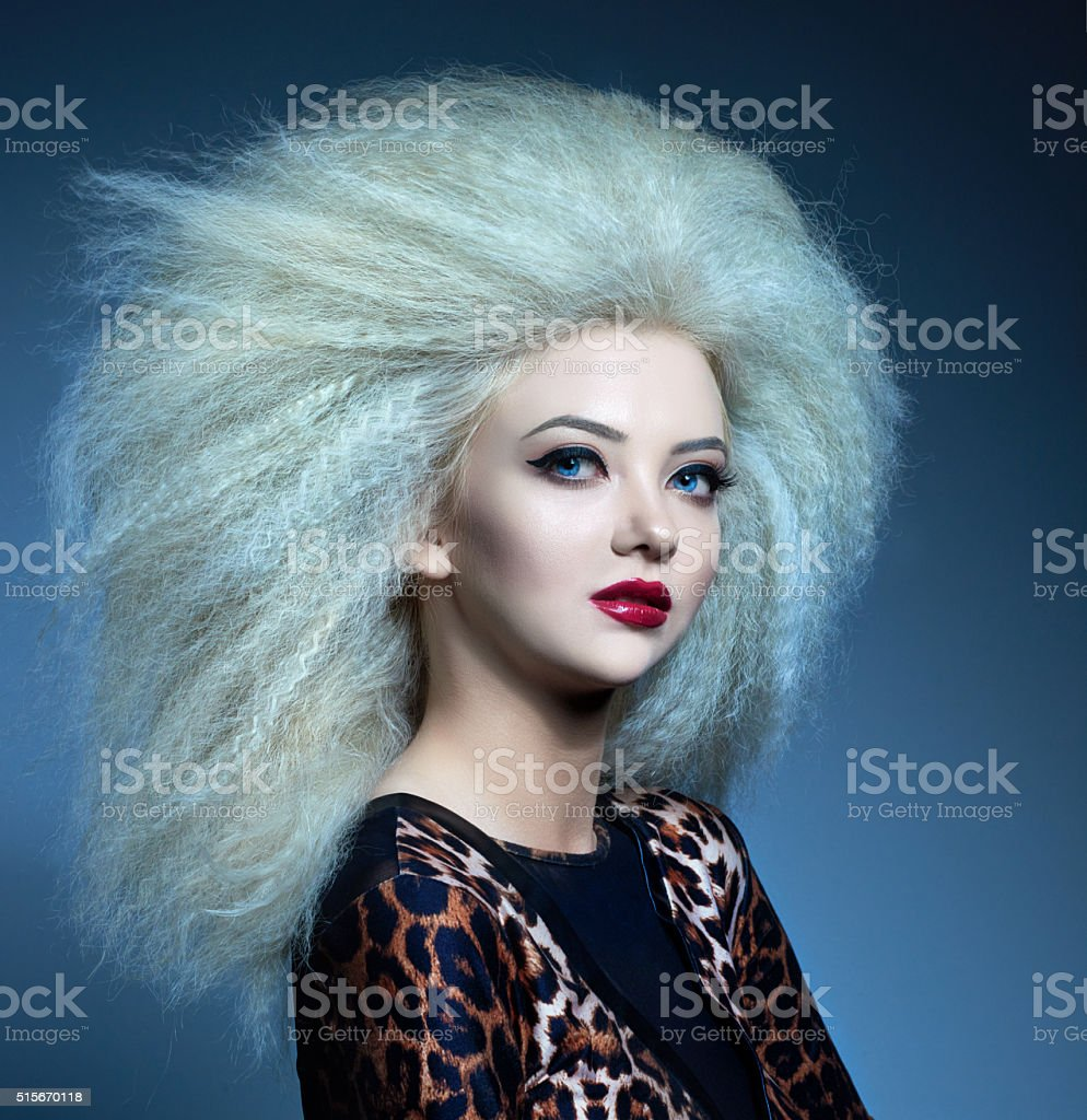 big volume hair and fashion stock photo